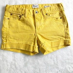 Madewell Denim Yellow Cuffed Shorts